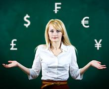 Confused, business woman uncertain about currency investment Stock Photos