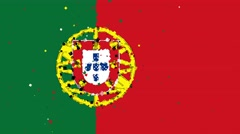 Celebratory animated background of flag of Portugal appear from fireworks Stock Footage