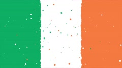 Celebratory animated background of flag of Ireland appear from fireworks Stock Footage