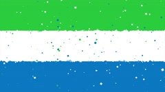 Celebratory animated background of flag of Sierra Leone appear from fireworks Stock Footage