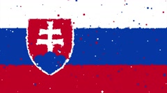 Celebratory animated background of flag of Slovakia appear from fireworks Stock Footage