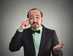 Man asking are you crazy? Stock Photos