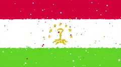 Celebratory animated background of flag of Tajikistan appear from fireworks Stock Footage