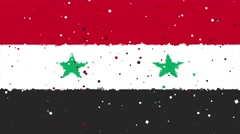 Celebratory animated background of flag of Syria appear from fireworks Stock Footage