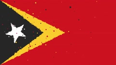 Celebratory animated background of flag of Timor-Leste appear from fireworks Stock Footage