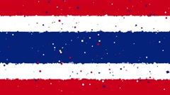 Celebratory animated background of flag of Thailand appear from fireworks Stock Footage
