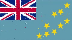 Celebratory animated background of flag of Tuvalu appear from fireworks Stock Footage