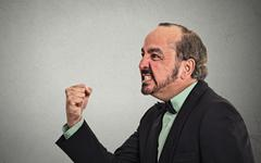 portrait angry middle aged man - stock photo