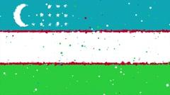 Celebratory animated background of flag of Uzbekistan appear from fireworks Stock Footage
