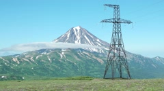 Power lines on a tundra field by the volcano, Kamchatka. Stabilized. Stock Footage