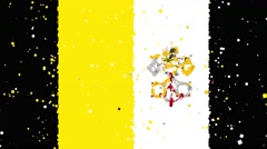 Celebratory animated background of flag of Vatican City appear from fireworks Stock Footage