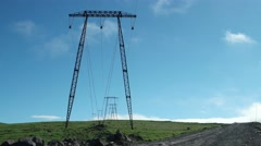 Power lines on a tundra field, Kamchatka Stock Footage