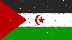 Celebratory animated background of flag of Western Sahara appear from firewor Stock Footage