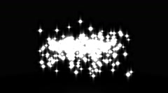 Glowing star particle in random direction with bounce on spotlight ground abs Stock Footage