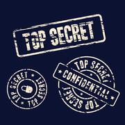 Top secret stamp set Stock Illustration