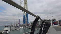 Unusual angle of Gunwharf Quays Portsmouth with spinnaker Tower Stock Footage