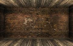 Empty dark abandoned room interior with cracked brick wall and hardwood floor Stock Illustration