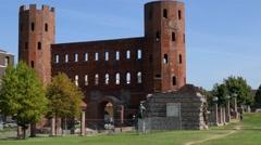 Turin - Porta Palatina Stock Footage