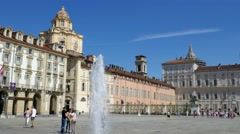 Turin - Piazza Castello and the San Lorenzo dome Stock Footage