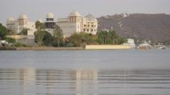 Heritage hotels at lake Pichola,Udaipur,India Stock Footage