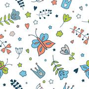 Seamless vector floral pattern. Spring illustration of cute butt Stock Illustration