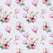 Watercolor seamless wallpaper with  magnolia flowers, leaves. Stock Illustration