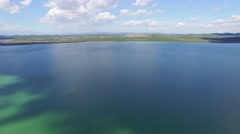 Vransko lake and landscape aerial view, Croatia Stock Footage