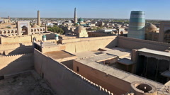 Aerial view on streets of the old city. Uzbekistan. Khiva Stock Footage
