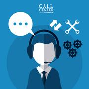 Operator assistant man headphone call center icon Stock Illustration