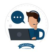 operator assistant man headphone call center icon - stock illustration