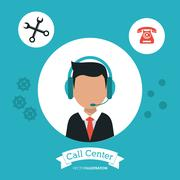 Operator assistant man headphone call center icon Stock Illustration