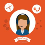 Operator assistant woman headphone call center icon. Vector grap Stock Illustration