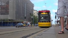Tramway station in Warsaw centrum, Poland. Tramway departure and arrival. Summer Stock Footage