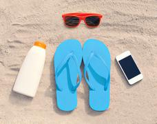 Summer accessories red sunglasses and flip flops with sunscreen bottle smartp Stock Photos