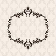 Vintage frame ornament icon - stock illustration