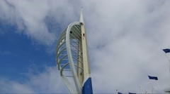 Time lapse of a person abseiling down the Spinnaker Tower Portsmouth Hampshire - stock footage