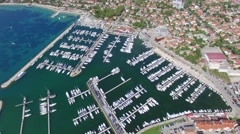 Aerial view of small town on Adriatic coast, Biograd na moru Stock Footage