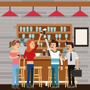 People coffee break shop icon.Vector graphic Stock Illustration