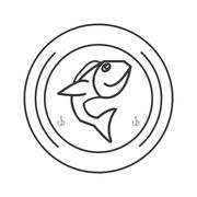 Fishing emblem icon Stock Illustration