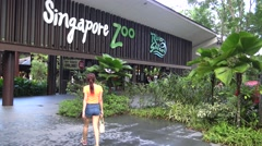 4k, People visitors in the entrance to Singapore Zoo-Dan Stock Footage