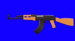 Cartoon Vector AK47 Shooting on a Blue Screen Background - stock footage