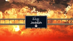 4K Passing Jeddah Saudi Arabia Highway Sign in the Sunset Stock Footage