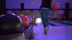 Woman Throws Bowling Ball Stock Footage