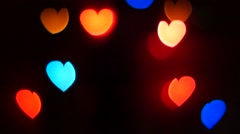 Flashing Hearts Move Up Light Background Stock Footage