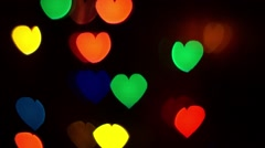 Luminous Hearts Move Up Light Background Stock Footage