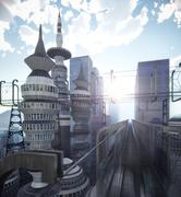 Aerial view of Sci Fi City with clouds and sun 3d illustration Stock Illustration