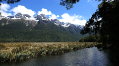 New Zealand Mirror Lakes with mountains Fiordland Stock Footage
