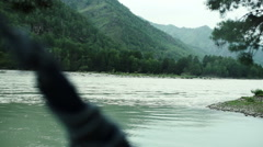 Mountain river atmosphere. river current Stock Footage