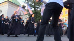 WYD Krakow 2016 - happy nuns group dancing in street - ground pov + audio 1 Stock Footage