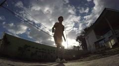 Boy is training Sepak takraw. silhouettes Stock Footage
